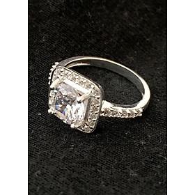 Hình đại diện sản phẩm Nhẫn nữ ổ cao gắn kim cương nhân tạo 6ly đá trawngss 100% bạc ta cao cấp - NU211 - Trang Sức Bạc QTJ(bạc)