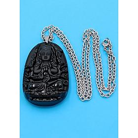 Hình đại diện sản phẩm Vòng cổ phật Thiên Thủ Thiên Nhãn - thạch anh đen 6cm DITTES8 - dây inox - tuổi Tý