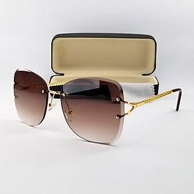 Mắt kính mát nữ thời trang 7K20079 màu nâu, xanh râm mát và dịu mắt. Tròng kính chống nắng, chống tia UV