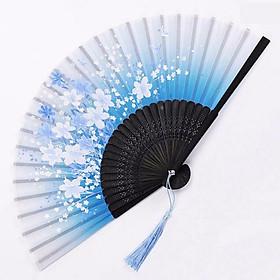 Quạt cổ trang dây tuyến XANH HOA LY vải lụa xếp cầm tay quà tặng Trung Quốc xinh xắn