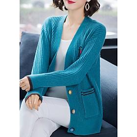 Áo Cardigan Nữ Form Hàn Quốc Khoác Vai ALNO34 MayBlue