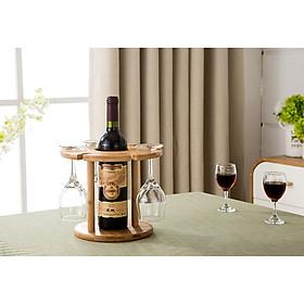 Kệ gỗ để rượu và ly bằng Gỗ Tre Cao Cấp