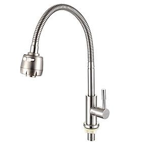 Vòi rửa chén đơn lạnh thép không gỉ 304 xoay 360 độ, hai chức năng giúp tiết kiệm nước