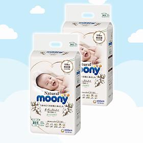 Combo 2 Bỉm - Tã dán Moony Natural size Newborn 63 miếng (Cho bé ~ 5kg)