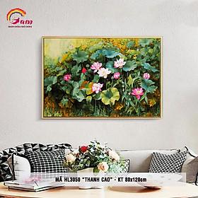 [Khổ lớn] Tranh sơn dầu số hóa tự tô màu DIY hoa sen - Mã HL3050 Thanh cao