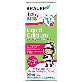 Bổ sung canxi, magie và kẽm Brauer Úc cho trẻ trên 1 tuổi (200ml) Liquid calcium