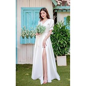 Đầm maxi cưới xẻ đùi kết hạt ngọc TRIPBLE T DRESS - Size M/L -MS111Y