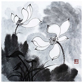 Tooarts Pure and Noble Lotus Chinese Painting Wall Art Artist Hand-Painted Chinese Brush Painting Traditional Decoration