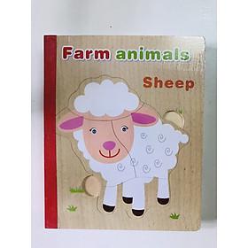 Sách gỗ ghép hình - Combo 2 cuốn sách gỗ ghép hình chủ đề nghề nghiệp và rau củ mã 02