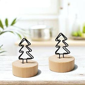 2 kẹp trang trí hình cây thông đế gỗ