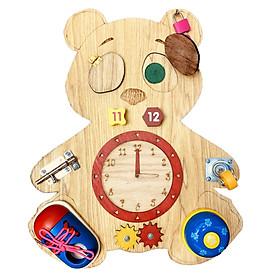Bảng Busy Board Gấu Bận Rộn Bằng Gỗ Đồ Chơi Giáo Dục Sớm Cho Trẻ Nhỏ