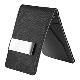 Minimalist Two-tone Color Mens Leather Money Clip Slim Wallets Credit Card