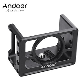 Andoer Metal Camera Cage Mount Protective Case with 1/4 Inch Screws Cold Shoe Compatible with SONY RX100 VI VII Cameras