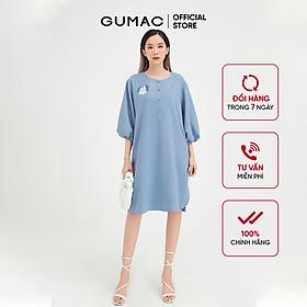 Đầm suông nữ thêu tay lỡ GUMAC màu xanh thanh lịch, sang trọng DB448