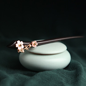 Phoenix Nirvana Ebony Hairpin Ancient Wind Shell Flower Tweezers Chinese Classical Court Headwear National Wind Jewelry Send Wife Christmas Gift Snow Plant