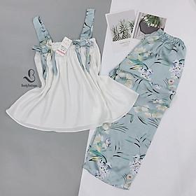 Bộ Lụa 2 dây quần dài - Babi mama - Đồ bộ mặc nhà pijama BP01.1