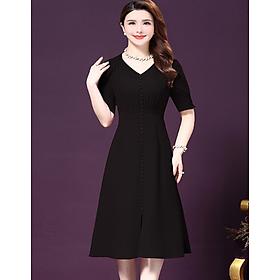 Đầm trung niên chun eo đính cúc - DS 213