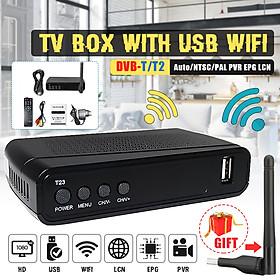 T23 DVB-T2 1080p 2 USB Wifi HD TV Digital Terrestrial Receiver W/ Remote Control