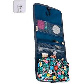 Túi du lịch móc treo toilet đựng mỹ phẩm, đồ dùng cá nhân, nhiều ngăn gấp gọn, có khóa cài tặng kèm móc dán tường-Xanh Đen
