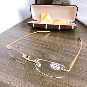 Kính lão thị hợp kim titanium loại  I siêu nhẹ hai tròng NHÌN XA VÀ GẦN CỰC tiện màu gold cực sang và thời trang i KV11
