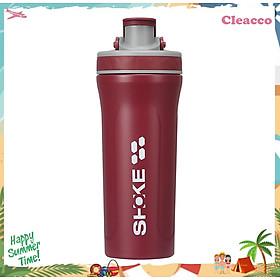 Bình nước thể thao tập gym kết hợp bình lắc whey shaker inox 304 dung tích 800ml CLEACCO dòng SHOKE - Hàng chính hãng