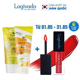 Bộ đôi Kem chống nắng Hàn Quốc Lagivado Multi-Protection 30 g và tẩy tế bào da chết Radiance Peeling 50 ml