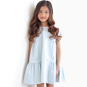 Đầm Bé Gái Kika Kẻ Xanh Phối Viền Trắng K118