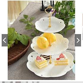 Bộ khay bằng sứ trắng 3 tầng tròn đựng mứt tết, ô mai, bánh kẹo trang trí bàn tiếp khách thêm sang trọng hiện đại