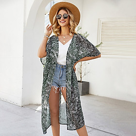 Fashion Women Summer Print Cardigan Short Sleeve Sashes Casual Bohemian Beach Kimono