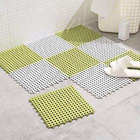 Combo 6 Tấm Thảm Nhựa Chống Trơn Trượt Nhà Tắm Lỗ Ghép Kháng Khuẩn (Giao Màu Ngẫu Nhiên )