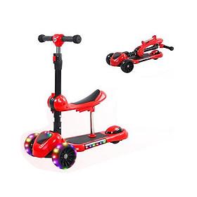 Xe scooter 3 bánh tự cân bằng, xe scooter 3 in 1 cho bé, có ghế gấp gọn, có nhạc và đèn LED bánh xe (yoyođỏ)