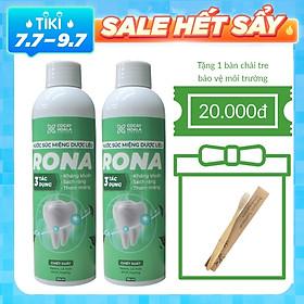 Combo 2 lọ nước súc miệng dược liệu Rona CoCayHoaLa TOP1 Giảm chảy máu chân răng, viêm lợi, nhiệt miệng, hôi miệng lâu năm chai 150ml - Hàng chính hãng