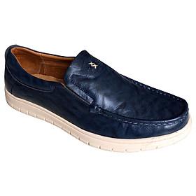 Giày mọi nam Trường Hải màu xanh lam bò da bò thật cao cấp không bong tróc đế cao su chống mòn không trơn GMTH097