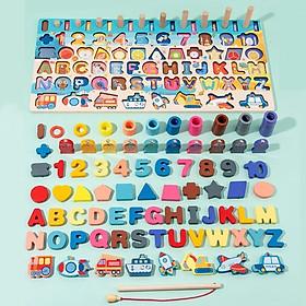 Bộ đồ chơi câu cá gỗ kèm bảng chữ cái cho bé 6in1 BK139