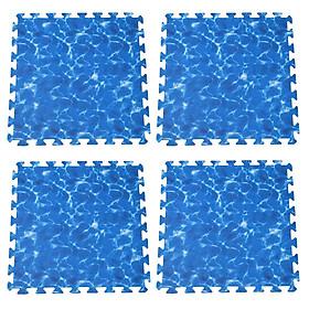 Combo 4 tấm Thảm xốp lót sàn an toàn Thoại Tân Thành hình sóng biển xanh dương (60x60cm)