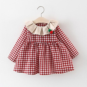 Plaid Patchwork Dress for Baby Girls Toddler Ruched Ruffles Strip Plaid Patchwork Dress Casual Clothes Wholesale 6-24M