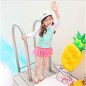 Bộ bơi bé gái váy rời hình chim hạc hồng gồm nón, cho bé 7-16kg