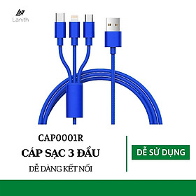 Cáp Sạc Đa Năng, Dây Sạc 3 Đầu Lightning, Micro USB, Type C - Thiết Kế Đẹp Mắt, Tinh Tế - Sử Dụng Cho Hầu Như Các Loại Điện Thoại IOS, Android - Hàng Nhập Khẩu - CAP000001
