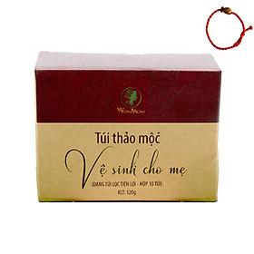 Túi thảo mộc Wonmom - Vệ sinh cho  mẹ bầu và sau sinh (Hộp 10 túi) - Tặng Kèm Vòng Tay Phong Thủy May Mắn