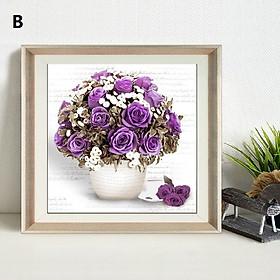 Bộ kit tranh đính đá hoa hồng tự làm trang trí phòng khách, phòng làm việc, phòng ngủ, cửa hàng, quán cà phê