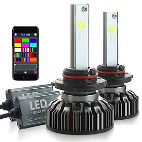 RGB Headlight Car LED Colorful BT APP H7 H4 LeadLamp Clearance Lamp Bulb