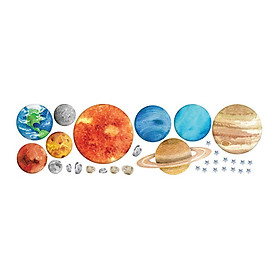 Decal Dán Tường 3D Hình Các Hành Tinh Hệ Mặt Trời