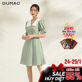 Đầm nữ dáng xòe DA1103 GUMAC thiết kế caro cổ lật trắng