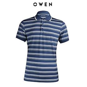 OWEN - Áo polo nam Owen màu xanh sọc ngang 22374- Áo thun ngắn tay có cổ nam