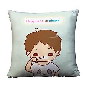 Gối Ôm Vuông Happiness Is Simple GVCP033 (36 x 36 cm)