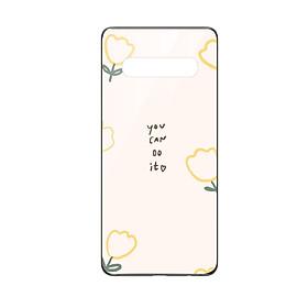 Ốp lưng KÍNH CƯỜNG LỰC VIỀN ĐEN cho Samsung Galaxy S10 YOU CAN DO IT - Hàng chính hãng
