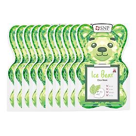 Bộ Mặt Nạ Gấu Băng Dịu Mát Cho Da Nhạy Cảm SNP Ice Bear Cica Mask (10 Miếng)