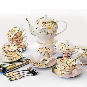 Bộ ấm trà 15 món sứ xương cao cấp màu hồng