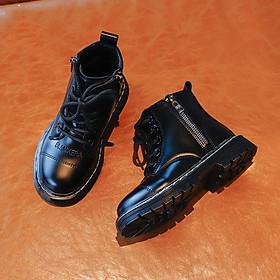 Boot giày cao cổ trẻ em bằng da êm chân bé trai, bé gái GC040