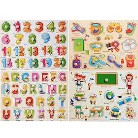 COMBO 4 bảng ghép hình núm gỗ (Đồ dùng lớp học, phòng tắm, Chữ, Số)